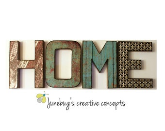 HOME Letters 12 inch Rustic Wall Shelf Decor