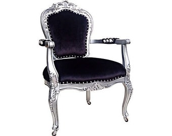 French Hollywood Rococo Baroque Goth Upholstered Arm Chair Silver Leaf Black Velvet Silk Designer Onyx Crystal Nail Heads