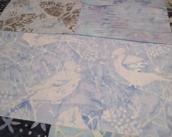 "14"" x 14""  Pillow Cover - Woodland Solitude Quiet Nature's Leaves Song Bird Garden Sky and Indigo Blues Fine Batiks"