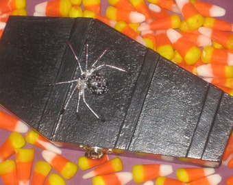 Black Coffin With Jeweled Siver Spider, Bowl filler, Ornament, Day of the Dead, Candy Dish