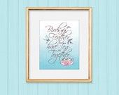 "Printable Wall Art Friends Quote Wall Decor 8""x10"" Digital Download Pretty Pink Teacup and Bluebirds"