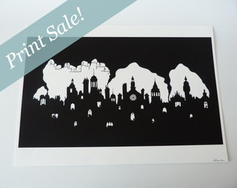 Sale: The Sleeping City Giclee Art Print, 'One by one all the children of the city were falling asleep…' A3 9.5 x 16 inches