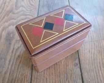 French Leather Box Mid Century Bridge Card Case Circa 1950s