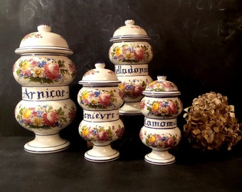 French Apothecary Jar, Vintage Pharmacy Jar, French Decor .Handpainted pot .French canister set