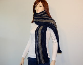 Crochet PATTERN PDF, The Journey Scarf Crochet Pattern, Extra Long Scarf, Oversized Wrap Scarf, Striped Scarf, Bulky, MarlowsGiftCottage