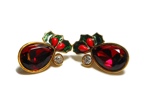 Avon Mistletoe Earrings Red Teardrop Rhinestone Mistletoe