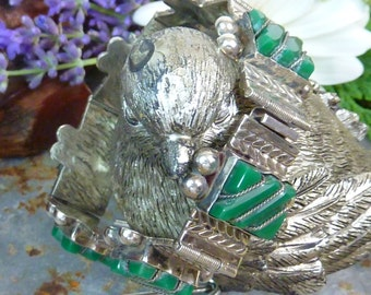 VINTAGE GREEN ONYX Taxco Mexican Sterling Bracelet