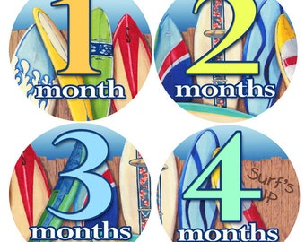 First Year Baby Stickers - Baby monthly stickers 1 to 12 months - Bodysuit Romper Stickers - Monthly Baby Stickers - SURFING SURFER STICKERS