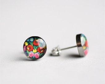 Floral post earrings (black), Surgical stainless steel studs, Hungarian earring studs, Folk motif stud earrings, Kalocsai earrins