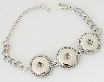 "1 Bracelet - 7.5"" FITS 18MM Candy Snap Charm Jewelry Silver KB0234 CJ0139"