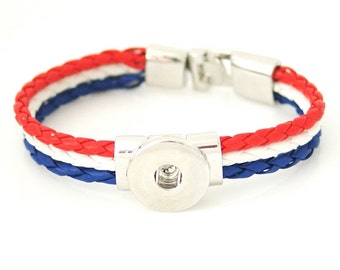 "1 Red White Blue Bracelet - 7"" FITS 18MM Candy Snap Charm Jewelry Silver KB0962 Cj0150"