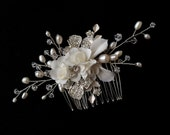Vintage inspired  Bridal Comb - Clear Rhinestone Crystal, Fresh water pearl, Porcelain leaves  & silk flower bridal hair comb