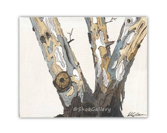 Modern rustic decor - #4 in a set of 4 - trunk of big tree