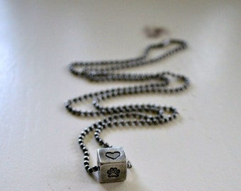 Peace * Love * Rescue Handstamped Pewter Cube Necklace