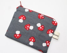 coin purse, change purse, charcoal grey with toadstools, mushrooms, woodland