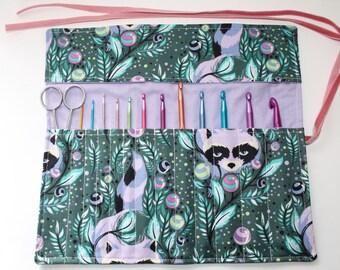 Crochet starter set, crochet hook holder, crochet hook roll, cotton fabric with raccoons, teal and purple