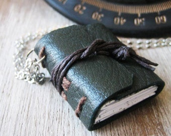 Book necklace jewelry miniature book leather hand stitched journal necklace eco friendly  jewelry small tiny sewn book for book lover reader