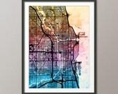 Chicago Map, Chicago Illinois City Street Map, Art Print (2076)