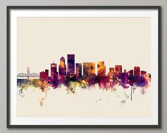 Portland Skyline, Portland Oregon Cityscape Art Print (2105)