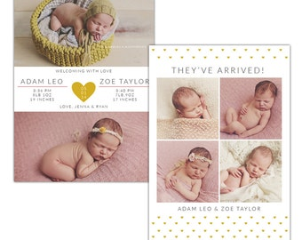 INSTANT DOWNLOAD - PSD Twins Birth announcement template -  e1198