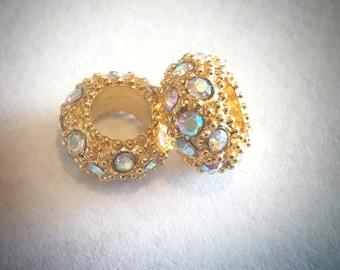 1 Aurora Borealis Rhinestone European Bead Gold Plated 10 x 5 mm mm - ec173
