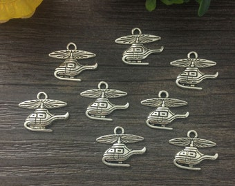 10 Helicopter Charms Antique Silver Tone 20 x 12 mm U.S Seller -ts743