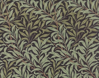 1/2 yard - BEST of MORRIS Willow Boughs on Black by Barbara Brackman - Arts and Crafts Art Nouveau Style