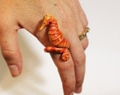 Seahorse Ring - Made To Order, Metal Free Finger Cuff