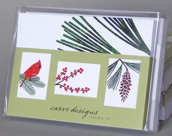 Winter Mix: A boxed set of 10 blank nature inspired notecards, origami paper, winterberry, cardinal, white pine