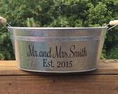 Personalized customized galvanized bucket - drink cooler - entertaining bucket - ice bucket