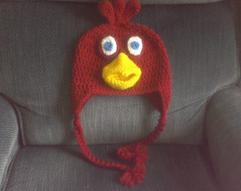 Crocheted Rooster Hat, Crocheted Toddler Hat, Crocheted Baby Hat, Crocheted Character Hat
