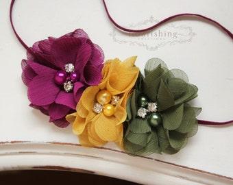 FALL BLOOMS- Plum, Mustard and Olive headband, fall headbands, newborn headbands, plum headbands, autumn headbands, photography prop