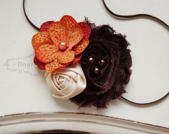 Fall Inspired headband, orange headbands, orange headbands, tan headbands, newborn headbands, photography prop