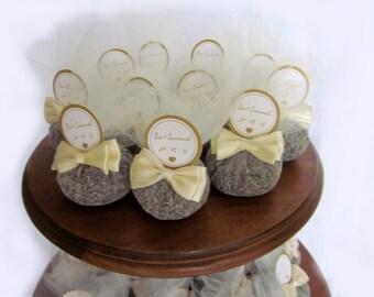 25 Personalized Organic Lavender Sachet Favors - wedding favors - Bridal Shower -  Party favors