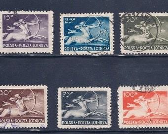 6 Polish Air Mail Vintage Stamps - Poland 1948 - Centaur (Sagittarius) and a Plane