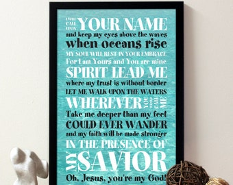 Oceans, Where Feet May Fail, Lyric, Worship song. Hillsong United. Poster. Download Immediately