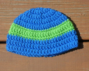 Blue Striped Hat, Boy Crochet Item, Boy Cap, Crochet Toddler, Blue Crochet Cap, Cute Kids Hat, Infant Boy, Little Boy Hat, Childs Hat