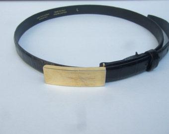 Saks Fifth Avenue Sleek Black Leather Gilt Buckle Belt Made in Italy