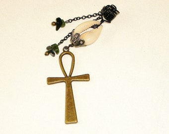 Dreadlock Jewelry - Antique Gold and Cowrie Ankh Loc Jewel