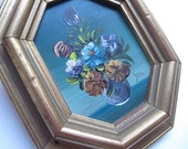 Vintage Octagon Framed Small Signed Floral Oil Painting