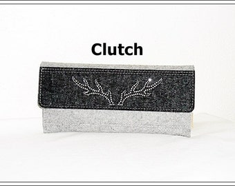 Wool felt - Clutch anthracite / gray with rhinestones