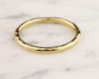 1.8mm 14k / 18k / 22k / 24k Gold Hammered Full Round Stacking Ring Wedding Band - Yellow, Rose, or White
