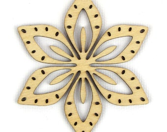Tropical Flower - Laser Cut Wood Snowflake in Multiple Sizes and Quantity Discounts