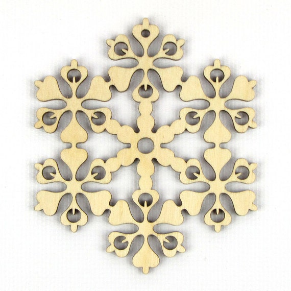 Complex Flower - Laser Cut Wood Snowflake in Multiple Sizes and Quantity Discounts