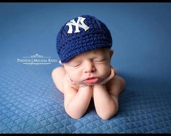 Yankees Baby Hat - Cap - New York Yankees - Baby Gift / Newborn -  Baseball Photo Prop - MLB - Knitted / Crochet