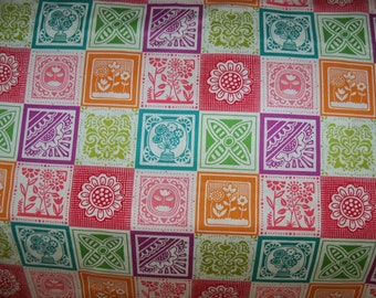 Round the Garden Colorful Cotton Patchwork Fabric,1 Yard