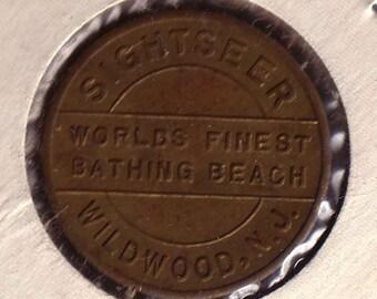 Wildwood NJ Sightseer Bus Token One Fare World's Finest Bathing Beach