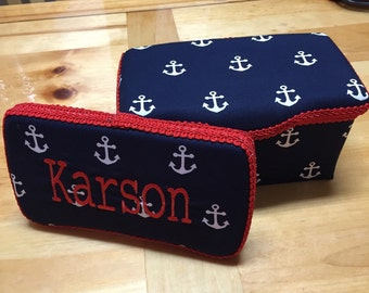 Navy Blue & White Anchors Wipe Case Set