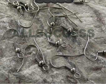 100pcs gunmetal plated brass fish hook with ball earwire 18x15mm,earring findings