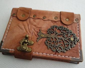 handmade leather bound journal / handmade small size leather notebook / Leather Sketchbook / Leather diary with Tree emblem &